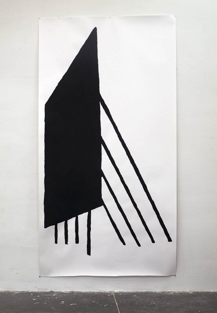 drawing, acrylic painting on paper, 150 x 283 cm
